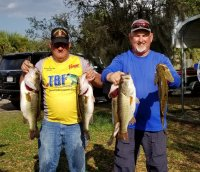 Dave Tripp and Robert Kimbrough with 24.85 lbs and first place on Lake Kissimmee 2-24-19